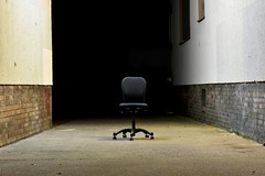 Official Apparition (Robin Shepperson) Tags: dark city deutschland chair ghost official haunted walkway le longexposure berlin germany ghosts spirits scary night bricks office seat poltergeist