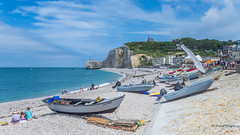 A day at the beach (Peter Jaspers) Tags: frompeterj© 2019 olympus zuiko omd em10 1240mm28 etretat normandie normandy seinemaritime beach seashore blue sky clouds falaises cliffs chapellenotredamedelagarde fishingboat bateaudepêche mouette widescreen 169