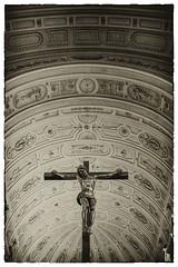 Crucifix in St. Michael Kirche (timnutt) Tags: cruciform buidling crucifix church inside architecture germany munich cross nikcollection roof fujifilm indoor mono x100 vaultedceiling munchen jesus monochrome christ x100t bw fuji bavaria silverefexpro2 blackandwhite city
