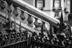 HFF - Converging Fences (Jose Rahona) Tags: fencedfriday fencefriday hff iron metal finial balustrade ornament stair windows blancoynegro blackandwhite bw monochrome