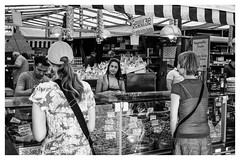 Trading in the Viktualienmarkt (timnutt) Tags: trader market street people germany munich nikcollection fujifilm sales x100t selling munchen food monochrome mono x100 bw fuji bavaria silverefexpro2 blackandwhite city