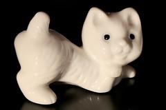 white kitten (HansHolt) Tags: cat kitten white figurine porcelain reflection tabletop macro canoneos6d canonef24105mmf4lisusm smileonsaturday blackandwhiteincolour