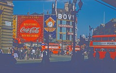 Cocachrome red (Riex) Tags: piccadillycircus road street rue ville town city place plaza ads panneauxpublicitaires billboards cocacola doubledeckerbus red rouge london londres angleterre england uk unitedkingdom royaumeuni diapo slide film kodachrome 1958