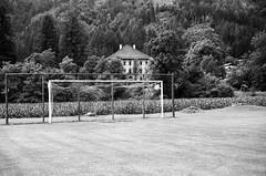 Treffen (Harald Reichmann) Tags: treffen schlosstreffen sportplatz tor analog film olympusom4 netz