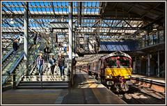 Royal ScotsMan (and Ladies) (david.hayes77) Tags: gbrf gbrailfreight class66 shed 66746 belmondroyalscotsman edinburgh edinburghwaverley scotland 1h84 5h84 passengers travellers lightandshadow stairs
