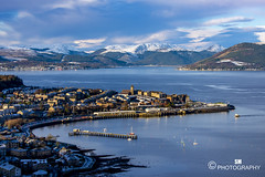 Winter view over Gourock (Scott McConaghy) Tags: scotland landscape river gourock clyde snow mountains cold sun cloud bay boats