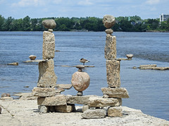 A balanced rock structure by John Felice Cepreno on the Ottawa River at Remic Rapids in Ottawa, Ontario (Ullysses) Tags: johnfeliceceprano remicrapids rockart ottawariver rivièredesoutaouais balancedrockstructures summer été ottawa ontario canada