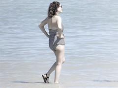 High tide (thomasgorman1) Tags: shore beach tide hightide candid woman swimwear canon mexico baja water tinted monochrome travel