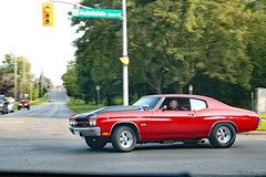 1970s Chevrolet Chevelle SS (Can Pac Swire) Tags: 2018aimg1464 oshawa ontario canada canadian classic vintage american car auto automobile panning shot image photo red gm generalmotors chevy chevrolet chevelle ss 1970s