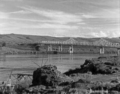 """The Dalles """"Salmon Bridge"""" and Salmon Fishing Platform (Gary L. Quay) Tags: dam columbiariver thedalles thedallesdam winter blackandwhite film water oregon river salmon 4x5 columbiagorge largeformat sinar bauschlomb filmphotography 2015 wascocounty nativefishers garyquay"""