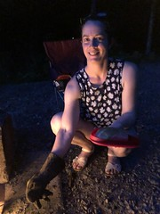 Beth Roasting Hotdogs (amyboemig) Tags: bowman lake state park friends sparkies camping july summer fire beth friend hotdog roasting skewer ny