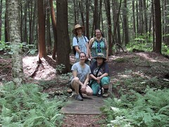 Sparkies In The Woods (amyboemig) Tags: bowman lake state park friends sparkies camping july summer bridge corinna foresta beth amy group hike ny