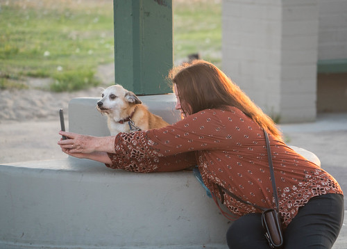 Woman Takes a Selfie with Her Dog - Venice Beach, California
