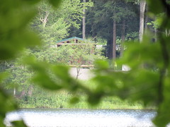 Our Cabin Is Through The Trees On the Other Side Of The Lake (amyboemig) Tags: bowman lake state park friends sparkies camping july summer cabin hike ny