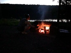 Beth Roasting Hotdogs My The Lake (amyboemig) Tags: bowman lake state park friends sparkies camping july summer fire beth friend hotdog roasting skewer ny