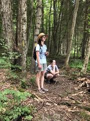 Corinna and Beth Waiting (amyboemig) Tags: bowman lake state park friends sparkies camping july summer hike corinna beth ny