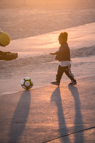 Little Girl Playing Soccer - Venice Beach, California