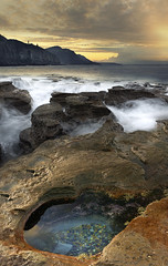 Trapped (Emerald Imaging Photography) Tags: coalcliff wollongong rock headland rockface seascape sunrise newsouthwales nsw sydney australia australian australianlandscape rockpool waves sea beach sunset clouds cloud rocks