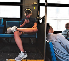 Who'd notice D750 on my lap taking the pic? (sjnnyny) Tags: d750 mtabus candid nyc travelers people stevenj sjnnyny afs2018g passenger onthephone