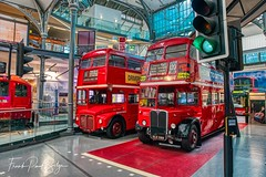 Two old red buses (frankps) Tags: transport buses museum londontransportmuseum london