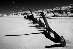 golden-beach-3066-ps-w (pw-pix) Tags: wreck shipwreck steel iron rust rusty rusted corroded weathered dilapidated beach oceanbeach dunes sanddunes grasses plants shrubs coast coastal sea ocean bassstrait shadows sand sandy clouds sky bw blackandwhite monochrome sonya7 irconvertedsonya7 850nminfrared ir infrared adaptedlens nikon142428afs nikkor1424mm128ged nikkor142428 nikon142428 trinculo trinculoshipwreck wrecked1879 ironbarque goldenbeach ninetymilebeach 90milebeach eastgippsland victoria australia peterwilliams pwpix wwwpwpixstudio pwpixstudio
