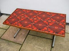 Vintage 1960's 70's Orange & Black Pop Art Tiled Coffee Table Charity / Thrift Shop Find (beetle2001cybergreen) Tags: vintage 1960s 70s orange black pop art tiled coffee table charity thrift shop find