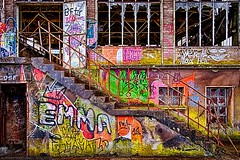 Urbex Rout Lëns / Terres Rouges - Hall (Robert GLOD (Bob)) Tags: lens lands lu esch alzette eschsuralzette minett lëns red building art industry architecture stairs painting graffiti construction europe steel stairway business luxembourg redlands hdr highdynamicrange industries hdri steelworks urbex rout terres rouges terresrouges businessindustry routlëns routlens