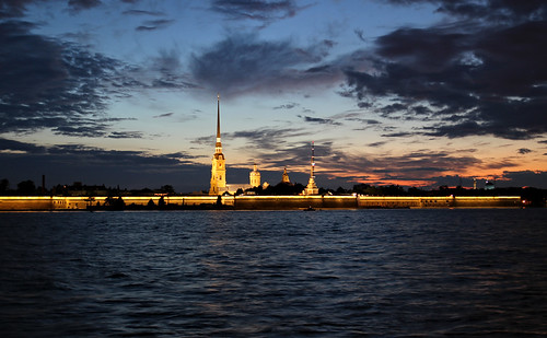 Bright northern horizont over Peter and Paul Fortress