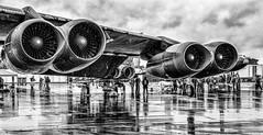 B52 Phoenix 0048 (photofitzp) Tags: bw b52 blackandwhite boeing militaryaircraft riat2019 rain reflections wet fairford usaf