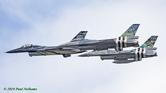 Belgian Air Force F-16's (Anhedral) Tags: riat2019 military airshow airdisplay raffairford belgianaircomponent f16am fightingfalcon 350squadron 349squadron invasionstripes flypast