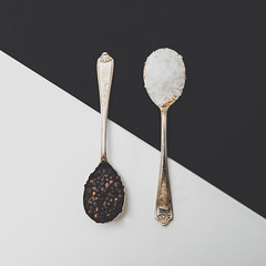 208/365 & 44/100 Contrasts [Explored] (belincs) Tags: oneaday contrast blackpeppercorns salt flash spoons indoors lincolnshire 365 2lilowlspreset 2019 uk july 365the2019edition 3652019 day208365 27jul19 100xthe2019edition 100x2019 image44100