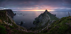 Sunset at the Edge of the World (Fading Dusk Photography) Tags: ireland republicofireland donegal dúnnangall countydonegal eu europe kyoshimasamune fadingduskphotography fadingdusk ultrawideangle panorama landscape sturrall sturrallridge seascape sea cliff atlanticocean sunset tokinaatxpro1116mmf28dxii tokina1116mmf28 westdonegal longexposure zomeind1000 zomei cokinfilters cokinnd8 anport gleanncholmcille