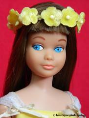 VINTAGE MOD BRUNETTE SKIPPER BARBIE DOLL w/ FLOWER GIRL OUTFIT #1904 (laika*2008) Tags: vintage mod brunette skipper barbie doll w flower girl outfit 1904 mattel japan