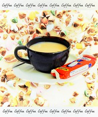 On the Doenut (Clare-White) Tags: smileonsaturday blackandwhiteincolour cup liquid doenut pictures 2 2pictures writing drink stilllife objects food biscuit chic