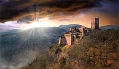 The protection (Jean-Michel Priaux) Tags: sun sunset priaux castle mountain cloud medieval patrimony landscape paysage nature lonesome lonely vosges plaine