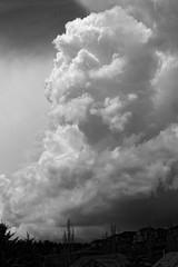 Going up (bichane) Tags: cloud storm thunderstorm monochrome vertical cumulonimbus houses towering