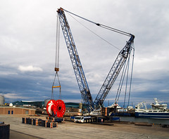 Ready to lift. (HivizPhotography) Tags: global port services terexdemag tc 28001 terex demag lifting crane lattice boom reel heavy scotland aberdeenshire peterhead harbour northeast north sea oil industry