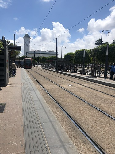 Tram arriving at Place Sidi Mohamed, Casablanca