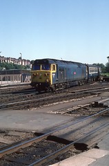 DROPPING DOWN THE BANK (Malvern Firebrand) Tags: 50019 ramillies exeter st davids june 1982 class50 1980s westcountry englishelectric 50 hoover devon southdevon loco locomotive 50xxx br blue refurbished headlight vehicles transport trains passenger railways 682 footcrossing