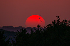 Sunset And Windturbine (Markus Branse) Tags: tags hinzufügen sunset darfeld rosendahl red orange rot gelb yellwo wald himmel sky sonnenuntergang sol sun star germany 20032015 2015 march märz frühling winter spring fog foggy nebel neblig hochnebel flugzeug fahrzeug outdoor lunar