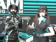 That race will start soon. (ღ:Yuz Lowbeamღ:) Tags: secondlife motodesign artsstyle motorcycle bike friend backdrop virtual world