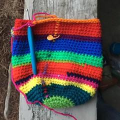 IMG_0928 (crochetbug13) Tags: crochet crocheted crocheting crochetmonster scrapyarn scrapcrochet yarnscraps multicolorcrochet crochetplasticbagholder diy betterlivingthroughcrochet