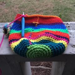 IMG_0926 (crochetbug13) Tags: crochet crocheted crocheting crochetmonster scrapyarn scrapcrochet yarnscraps multicolorcrochet crochetplasticbagholder diy betterlivingthroughcrochet
