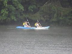 Beth and Foresta Kayaking In The Rain (amyboemig) Tags: beth bowman lake state park ny newyork camping kayaking kayak rain tandem foresta