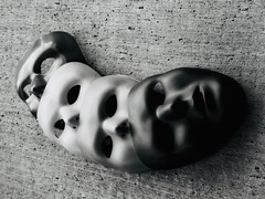 Layerz (Robert Cowlishaw (Mertonian)) Tags: faces mask canon powershot g1x mark iii canonpowershotg1xmarkiii mertonian robertcowlishaw acedia melancholy indifference apathy torpor bypl backyardphotolab blackandwhite light dark cement concrete