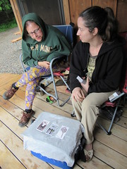 Beth Reads Foresta's Cards (amyboemig) Tags: beth bowman lake state park ny newyork camping tarot cards foresta raining cabin