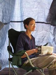 Corinna Volunteers To Sit I The Dark Corner (amyboemig) Tags: bowman lake state park ny newyork camping raining corinna cabin