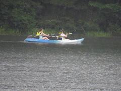 Foresta and Beth Kayaking (amyboemig) Tags: beth bowman lake state park ny newyork camping kayaking kayak rain tandem foresta