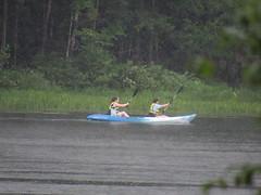 Beth and Corinna Kayaking In The Rain (amyboemig) Tags: beth bowman lake state park ny newyork camping kayaking kayak rain tandem corinna