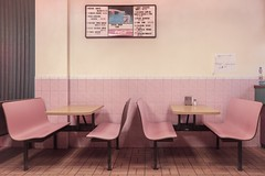 Vaporwave (reinfected) Tags: new york old pink food 3 ny restaurant iii fast wave retro valley future takeout hudson gr seating past ricoh vapor dated vaporwave america seat faded americana